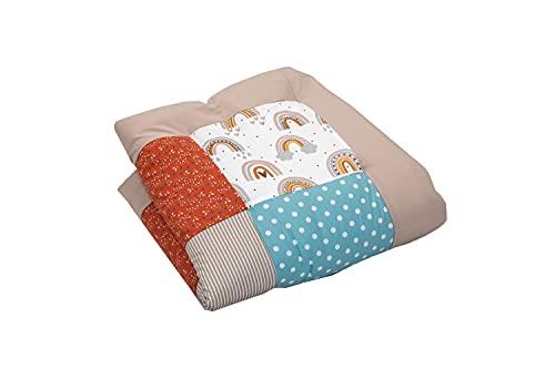 Alfombra para gatear de ULLENBOOM ® con Arco Iris (manta para bebé de 80x80 cm; ideal como colcha para el cochecito; apta como alfombra de juegos)