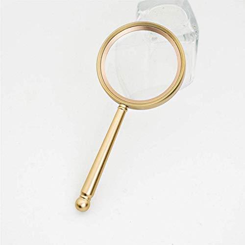 JJDSN Riel de Cama Lupa de Mano Antigüedades Espejo agrandado Lupa de Lectura Lupa con Mango de Metal HD 10 Veces Lente de Vidrio Dorado Lectura Antigua Periódico Lupa