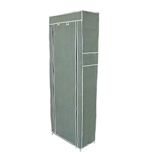 PrimeMatik - Armario ropero y Zapatero de Tela Desmontable 60 x 30 x 160 cm Gris con Puerta Enrollable