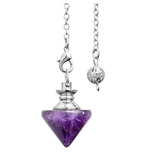 CrystalTears - Péndulo de Cristal de Amatista Natural con Forma de Cono de Piedra para curación de Chakras, con Punta de Cristal, para el Tratamiento de la divinación de Wicca