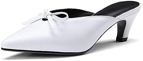 LFDGGX Schmetterling Knoten Rote Schuhe Frauen Spitz Dünne Fersen Leder Sommer Hausschuhe Mode Frauen Heels 5 cm