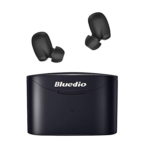 Bluedio True Wireless Earbuds TF2 with Charging Case Built-in Mic, TWS Bluetooth 5.0 Earphones with Face Recognition/Touch Control /IPX6 Waterproof /6mm Driver for Sports for iOS/Android (Black)