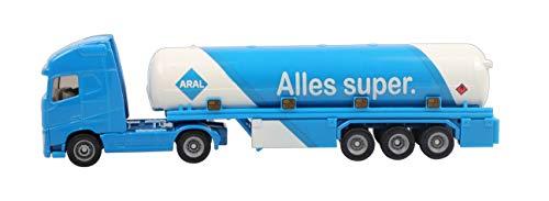 SIKU 1626, Tanksattelzug, Metall/Kunststoff, Blau/Weiß, ARAL-Optik, Spielzeugauto für Kinder, Bereifung aus Gummi