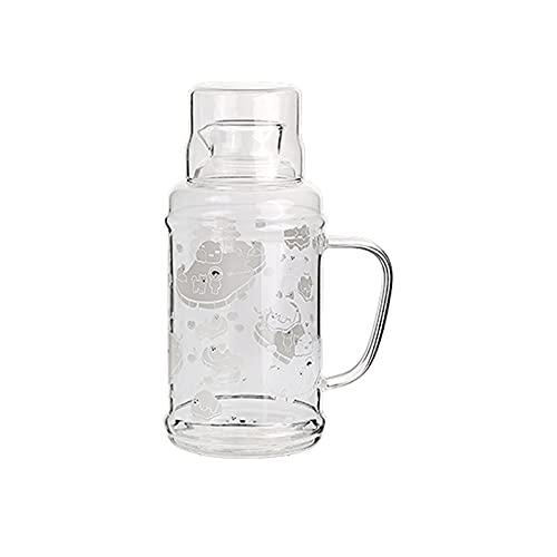 Jarra de Agua Cristal Lanzador de termo retro con asa antisalmada alta Botella de agua de vidrio de alto borosilicato Tetera resistente a alta temperatura Capacidad grande Jarras de Vidrio