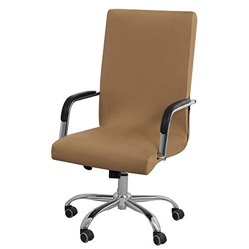 PiccoCasa Stretch Bürostuhlhusse Computer Stuhl Schonbezüge mit Reißverschluss und unteren Streifen für Drehstuhl Simplism Style Waschbar Hohe Rückenlehne (Stuhl nicht enthalten) Braun Groß