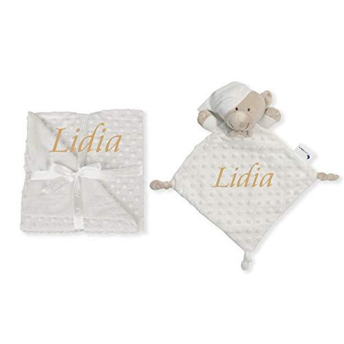 Manta de bebe personalizado con su nombre bordado, manta de copito (Manta + DouDou)