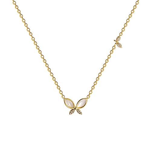 WQZYY&ASDCD Collar De Mujer Simple Temperamento Mariposa Collar De Ópalo Señoras Lujo Luz Titanio Acero Clavícula Cadena-1