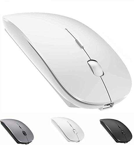 Bluetooth Mouse,Rechargeable Wireless Mouse for MacBook Pro,Bluetooth Wireless Mouse for MacBook Air Laptop PC Computer (White)
