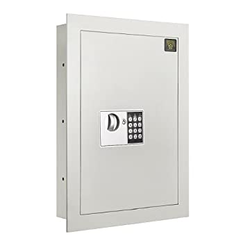 Digital Wall Safe – Flat Electronic Steel Keypad 2 Manual Override Keys – Protect Money Jewelry Passports – For Home or Business by Paragon