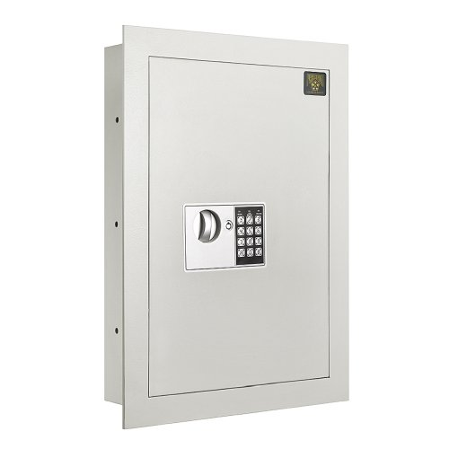 Digital Wall Safe – Flat, Electronic, Steel, Keypad, 2 Manual Override Keys – Protect Money, Jewelry, Passports – For Home or Business by Paragon