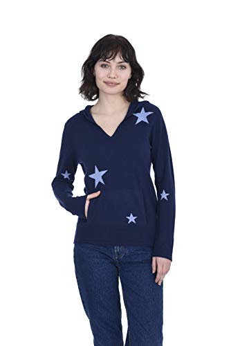 Cashmeren Women's Wool Cashmere Long Sleeve Star Hoodie (Navy/Angel Blue, Large)