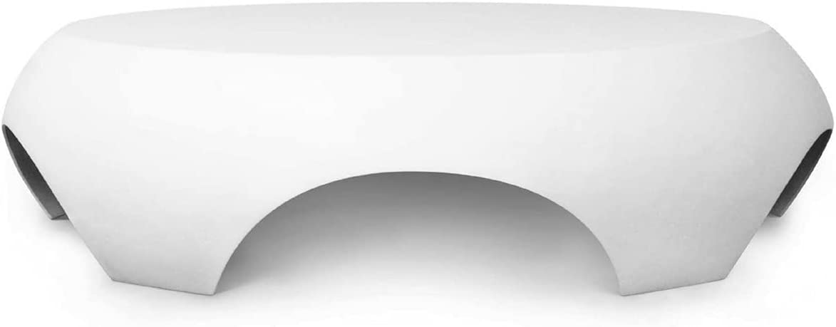 Casa Padrino Mesa de jardín de Lujo Blanco Mate Ø 140 x A. 35 cm - Mesa Baja Redonda Resistente a la Intemperie - Muebles Mesa de Jardín de Terraza - Colección de Lujo