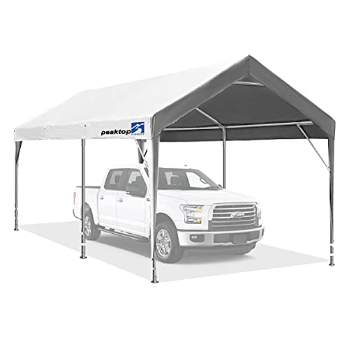 10 x 20 ft Upgraded Heavy Duty Carport with Adjustable Heights from 9.5ft to 11.0ft, Portable Car Canopy, Garage Tent, Boat Shelter with Reinforced Triangular Beams and 4 Weight Bags