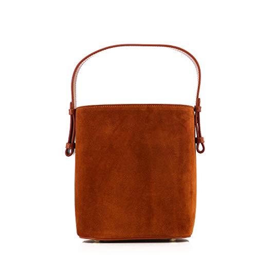 ROUVEN SUPER-SALE/STUDIO.MUNET Leder Veloursleder Handtasche Schultertasche Tasche/Livia Tote Bag/medium / 17x20x14 cm/Cognac Braun