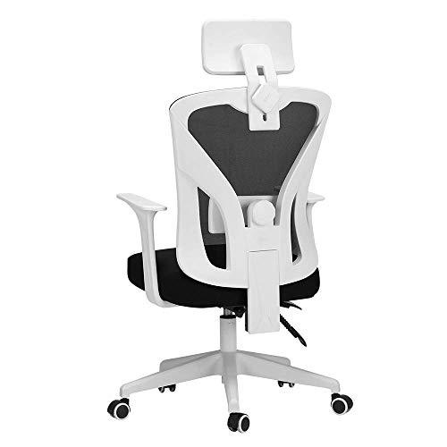 WSDSX Stuhl Mesh Drehbarer Bürostuhl mit hoher Rückenlehne Moderne Einfachheit Student Study Chair Verstellbare Kopfstütze Bewegliche Lordosenstütze Atmungsaktives Mesh Lagergewicht 200 kg Schwa