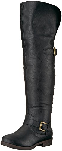 Brinley Co Women's Sugar Over The Knee Boot, Black, 7.5 Wide/Wide Shaft US