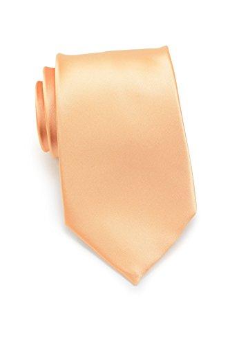 PUCCINI Uni Krawatte, Tie, Binder, Herren-/Hochzeitskrawatten, Schlips, Plastron │ 8.5cm schmal-slim │ einfarbig-unifarbig: Apricot