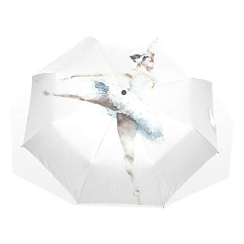 LASINSU Mini Ombrello Portatile Pieghevoli Ombrello Tascabile,Bella ballerina danza pittura ad acquerello saluto persone danza donna azione balletto costume,Antivento Leggero Ombrello per Donna