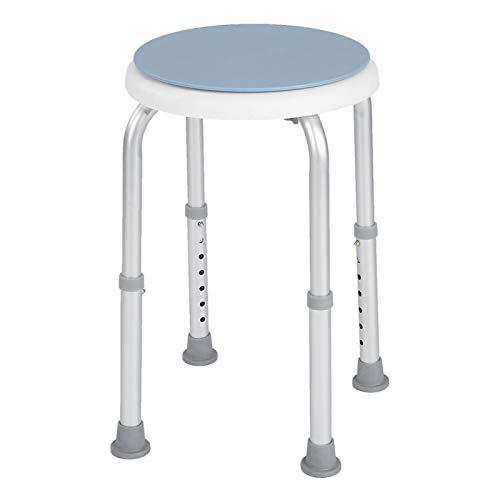 Sgabello da Doccia Rotondo Regolabile per Vasca da Bagno Sedile Girevole in Lega di Alluminio Sedile di Sicurezza Girevole a 360 ° Facile Presa per Bambini Anziani