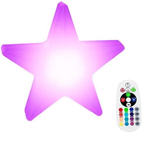 DINOWIN Luz LED de estrella de estado de ánimo, resistente al agua, recargable,multicolor,lámpara de mesita de noche,20 cm,luz LED regulable para el hogar,dormitorio,jardín,iluminación decorativa