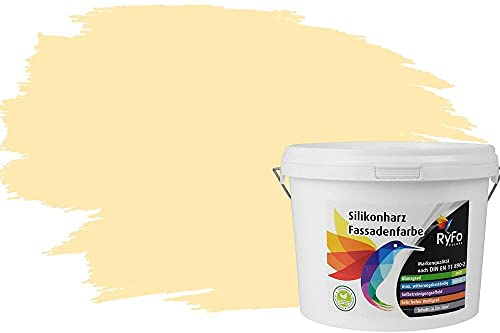 RyFo Colors Silikonharz Fassadenfarbe Lotuseffekt Trend Honiggelb 3l - bunte Fassadenfarbe, weitere Braun Farbtöne und Größen erhältlich, Deckkraft Klasse 1