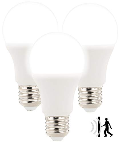 Luminea Radarlampen: 3 LED-Lampen mit Radar-Bewegungssensor, 12 W, E27, 6.400 K, TW (Birne mit Bewegungsmelder)