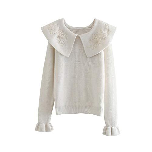 DYXYH Kragenpullover Frauen Mode Stickerei Pullover Pullover Frauen Elegante Langarmpullover Damen Damen (Size : S-length-56CM)