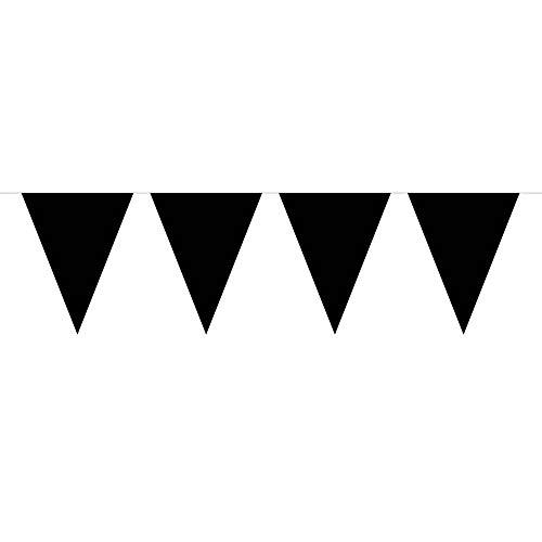 Folat Wimpelkette, Wimpelgirlande, 10Meter, mit 15schwarzen Wimpeln, Partydekoration