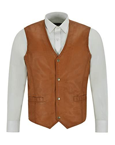 Smart Range Leather Chaleco de Cuero para Hombre Chaleco Chaleco de Motorista de Cuero Real clásico marrón Claro Formal 1118 (L)