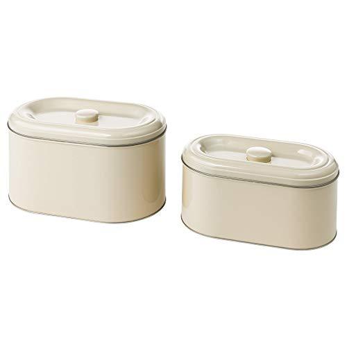 IKEA 003.332.64 Berömlig Aufbewahrungsdose mit Deckel, 2er-Set, Beige