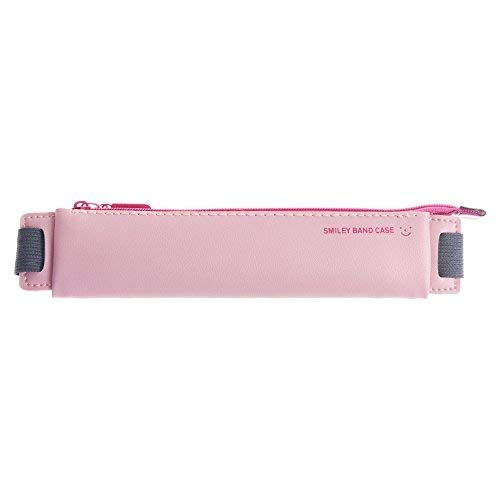 BCP PU Leather Pen Pencil Pocket Case Sleeve Holder Pouch with Elastic Band for Book Notebook (Pink)