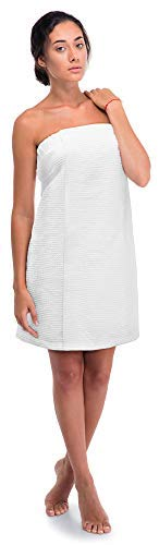 Turkish Linen Women's Waffle Spa Body Wrap with Adjustable Closure (One Size, White)