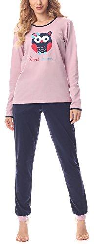 Merry Style Damen Schlafanzug MS10-170 (Puderrosa-Dunkelblau, M)