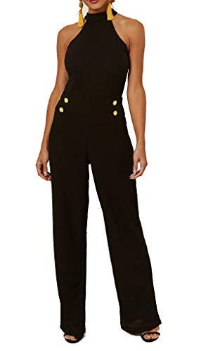 Re Tech UK Damen Jumpsuit - ausgestelltes Bein - elegant - Schwarz - ärmellos, Gr.- 38 EU/ 12 UK