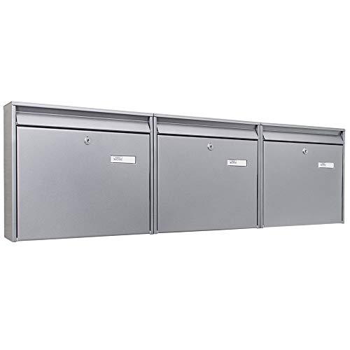 banjado Briefkastenanlage silber 3 Fach | 109x32x10cm groß Stahl silber DIN A4 | Briefkasten Set 3 Briefkästen mit Namensschild, 2 Schlüssel, Montagematerial