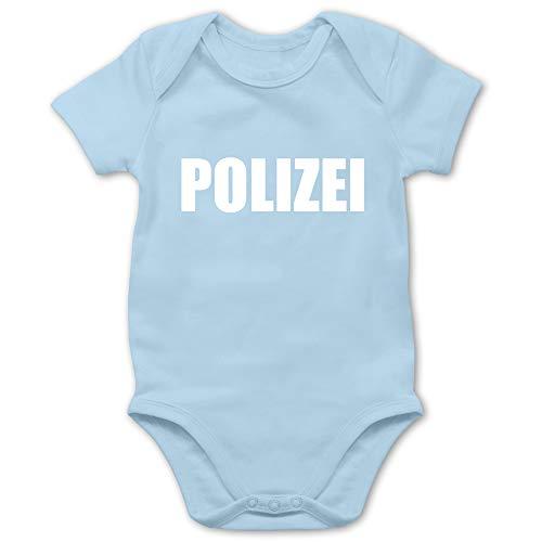 Shirtracer Karneval und Fasching Baby - Polizei Karneval Kostüm - 6/12 Monate - Babyblau - faschingskostüme Polizei - BZ10 - Baby Body Kurzarm für Jungen und Mädchen