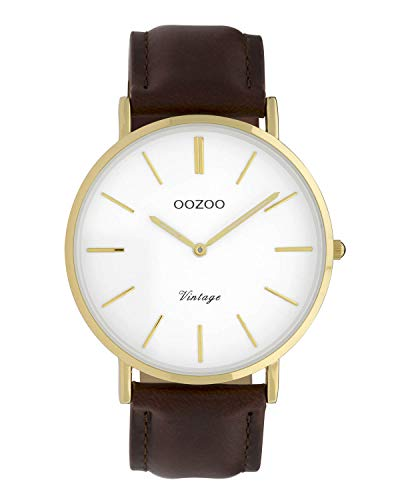 Oozoo Vintage Damenuhr Lederband 40 MM Goldfarben/Weiss/Dunkelbraun C9831