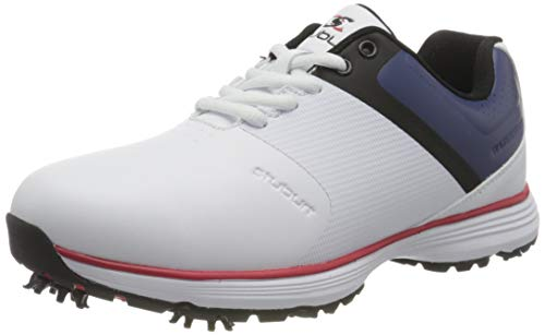 Stuburt Golf SBSHU1125 PCT II Dri-Back - Zapatos de Entrenamiento de Golf Impermeables de Microfibra cómoda con Pinchos, Hombre, SBSHU1125, White Navy, 41