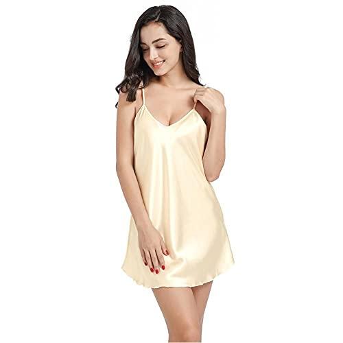 WEDFGX Novedad de Verano, Ropa de Dormir para Mujer, camisón Sexi con Tirantes Finos, camisón de Talla Grande 3XL 4XL, camisón de rayón, Bata Corta, Vestido