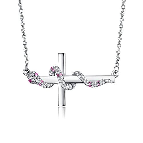 TANGPOET Collar de plata de ley 925 con cruz de serpiente para hombre con colgante de cruz de circonita cúbica, collar de joyería de cumpleaños para mujeres bautismo o iglesia regalo