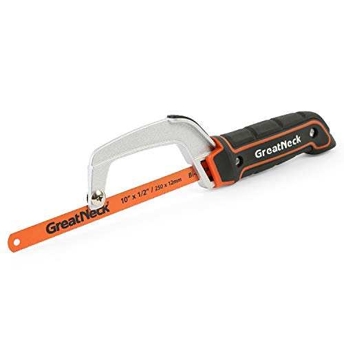 Great Neck 74009 10 Inch Close Quarter Hack Saw, Compact Hacksaw for Cutting Wood, Metal, PVC, and Foam, Dual-Action Blade Lock, Adjustable Aluminum Frame, orange