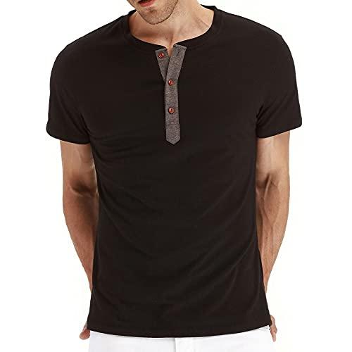 Camisetas para Hombre Casual De Manga Corta para Hombre Botones De Color SóLido Cuello Redondo Ropa De Manga Corta