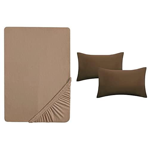 Biberna 0077144 Lenzuolo Fine Jersey, Altezza del materasso fino a 22 cm + 2x Fodera per cuscini, cotone pettinato, morbido 1x 90x190 cm - 100x200 cm + 2x 40x60 cm, macchiato