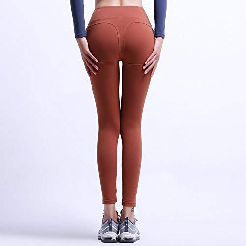 Mallas Leggings De Fitness De Cintura Alta para Mujer Leggings De Secado Rápido Casuales Sólidos Legging De Fitness Gótico Leggins Punk S Brown