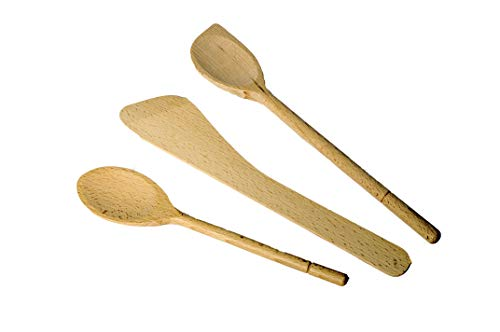 H & L Russel - Set of 3 Wooden Cooking Utensils - Includes 2 wooden spoons and wooden spatula (FSC Certitied)