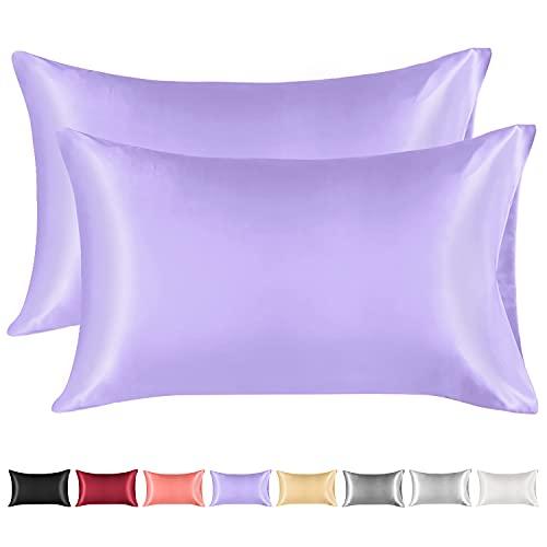 Lirex 2 Paquetes Funda Almohada Seda, King Size Microfibra de Color Sólido Suave Funda de Almohada de Seda, Sin Arrugas Resistente a la Decoloración Respirable (Púrpura Claro, 50x75cm)