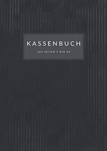 Kassenbuch • Din A4 • 102 Seiten: Doppelseitige Kassenabrechnung mit MwSt.-Spalte für Kleingewerbe, Kleinunternehmer, Selbstständige, ... zum Eintragen • Schwarzes Streifen Design