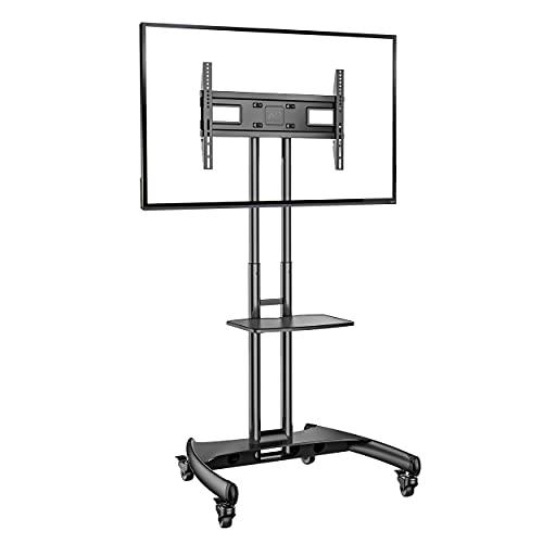 Ergosolid Supporto TV da Pavimento con Ruote Carrello Staffa Porta Mobile Stand Orientabile per Schermi 32' a 65', fino a 45,5 kg, nero