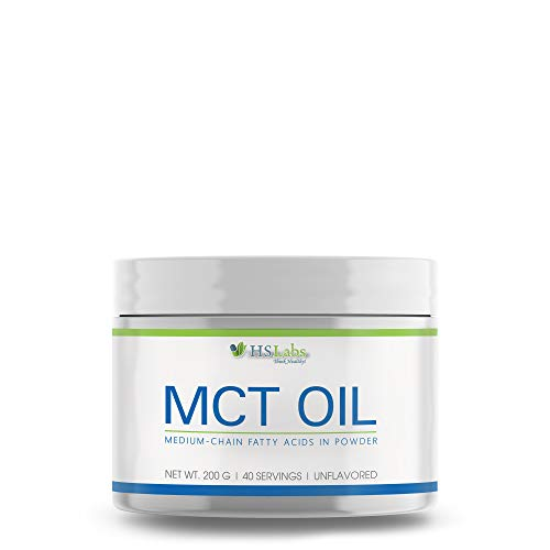 HSLabs MCT Oil Medium Chain Triglycerides Oil in Powder Form 200g 40 Servings Supplementation of Diet in Medium-Chain Fatty Acids Ketogenic Diet Intermittent Fasting