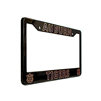"""EliteAuto3K Auburn Tigers License Plate Frame Cover – Black – 12.25"""" x 6.25"""" - Ideal Gift for Sports Fans & Supporters – Slim Design"""